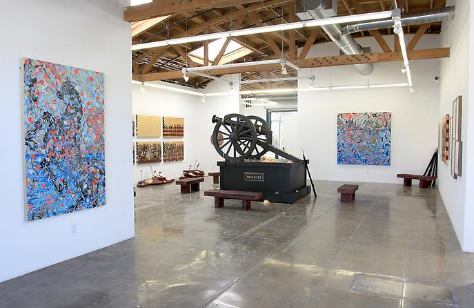 "Installation shot of ""Fallout"" from Mark Moore Gallery, Los Angeles.  Source: www.markmooregallery.com"