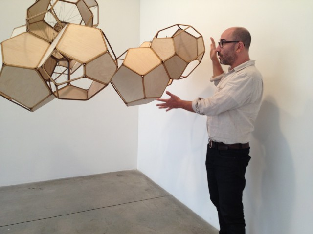 Talking sculptor Tomas Saraceno with Ethan Sklar at Tanya Bonakdar Gallery