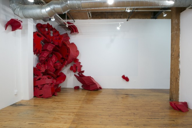 Carol Jackson 'High Plains Drifter' papier-mache installation.  Photo courtesy www.three-walls.org