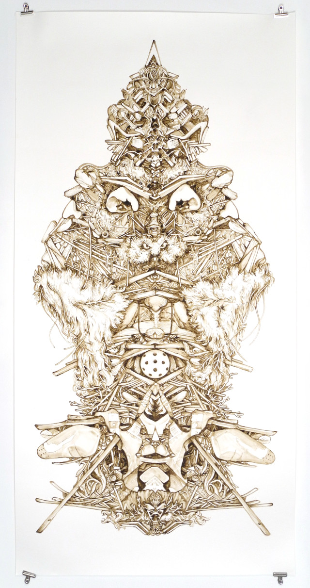Tanja Geis 'Littoral Daemon I' 2014, mud from San Francisco Bay on paper.