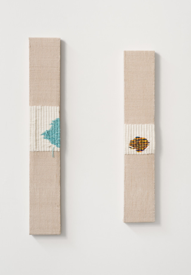 Diedrick Brackens, and see what happens 2015 Hand woven fabric, cotton dyed with tea, acrylic yarn, and nylon