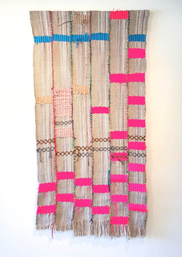 Diedrick Brackens, disconnected, drown, drench, 2015 Hand woven and sewn fabric, cotton dyed with tea and wine, nylon, commercially dyes cotton, and polyester yarns