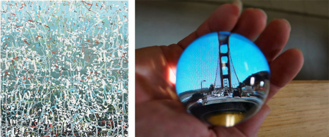 "Left: Amy Ellingson ""Variation Blue"" and Beltran Minneman ""Cinema Snowglobe"""