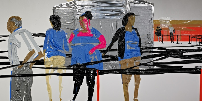 "Tirtzah Bassel, ""Airport in Security"", 2012, duct tape on wall. Image courtesy of For-Site Foundation."