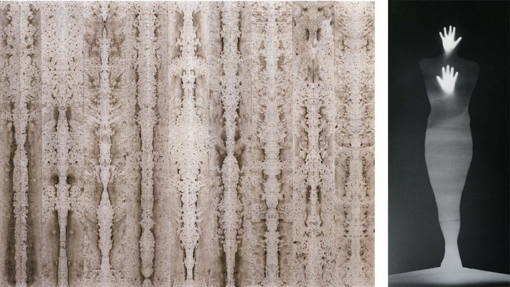 "Bruce Conner Left ""Burning Bright"" 1996 and Right ""Sound of Two Hand Angel"" 1974. Images courtesy of SFMOMA."