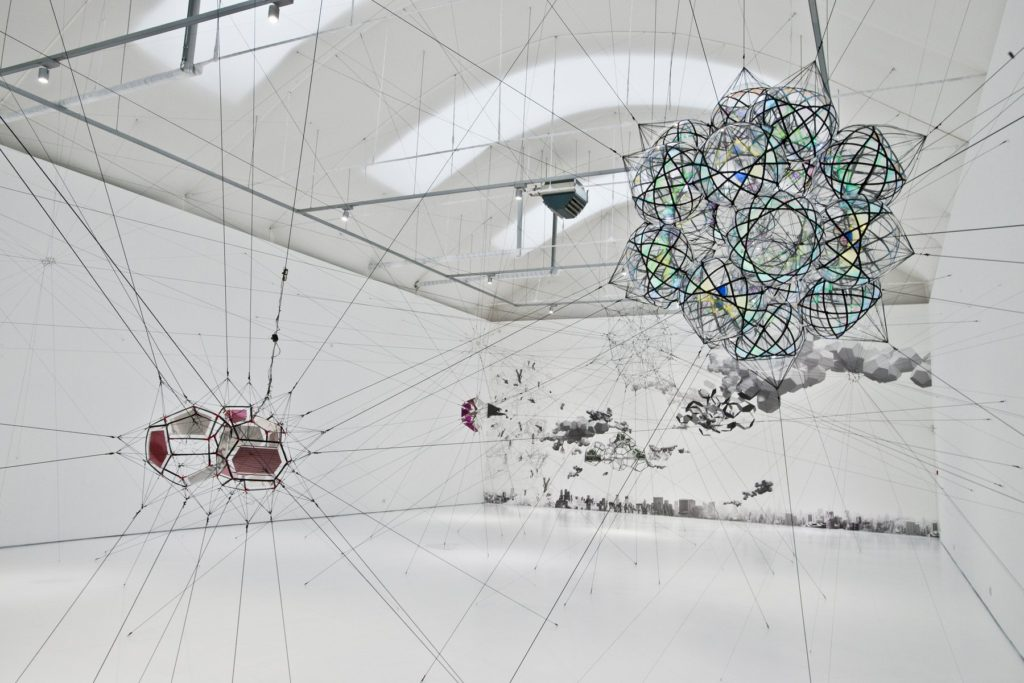"Tomas Saraceno ""Many Moons and Words"" 2016, installation view The Vanhaerents Art Collection. Image courtesy SFMOMA."